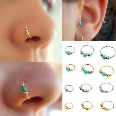 1XStainless Steel Nose Ring Turquoise Nostril Hoop Nose Earring Piercing 6-10MM
