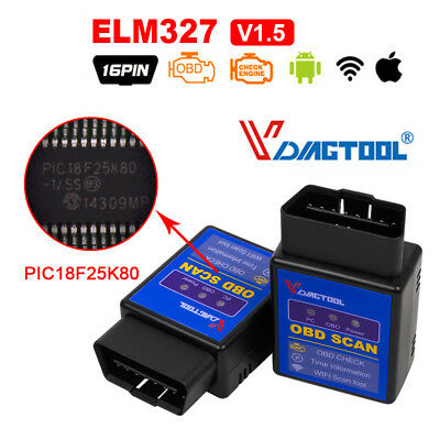 NEW ELM327 Wifi / Bluetooth V1.5 OBD2 Code Reader ELM 327 With PIC18F25K80 Chip