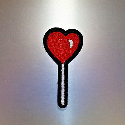 Heart Lollipop Patch — Iron On Badge Embroidered Motif — Fun Cute Love Food