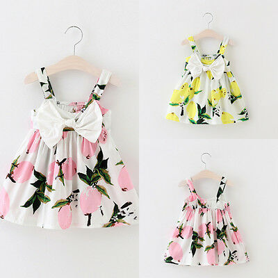 UK Stock Summer Toddler Baby Girls Lemon Floral Casual Party Dress Sundress 0-3Y