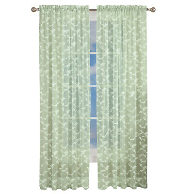 Elegant Embroidered Floral Sheer Curtain Panel with Rod Pocket Top