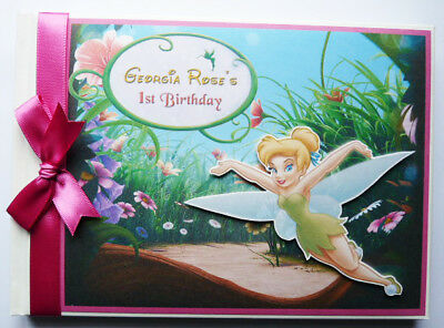 Personalised Tinkerbell Girls Birthday Guest Book / Sign In Book - Any Design