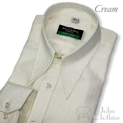 Men Spear point collar shirt Cream 1930 40 50's Vintage Classic fit 100% Cotton