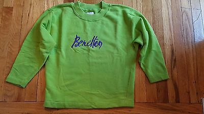 Vintage 1980's United Colors of Benetton Sweatshirt Lime Green Purple Embroidery