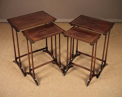 Tall Antique Mahoghany Nest of Tables with Inlaid Tops c.1910.