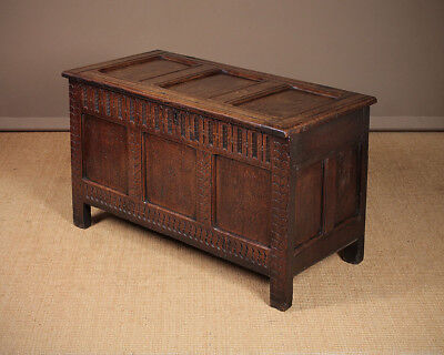 Antique 18th.c. Oak Coffer with Original Carved Front c.1760.
