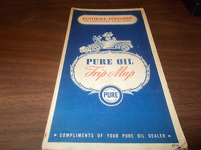 1947 Pure Oil Kentucky/Tennessee Vintage Road Map