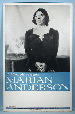 1950s Black Singer Marian Anderson Original Live Stage Performance Sign Poster