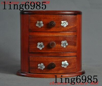 """5""""Chinese Redwood shell Plum flowers statue Lockers box drawer Bedside cabinets"""
