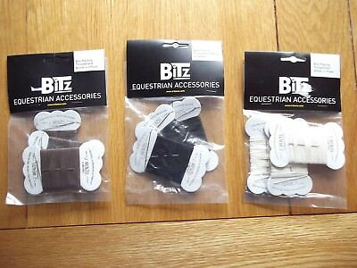 PACK of 3 ~ Wenzel Strong Plaiting Thread & Needle ~ Black ~ Brown ~ White