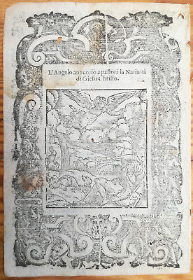Post Incunable Leaf Rosario Woodcut Annunciation to Shepherds.. Venice - 1521#