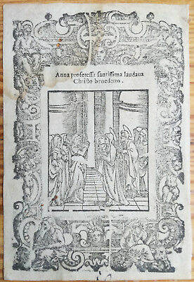 Post Incunable Leaf Rosario Woodcut Anna... Venice - 1521#