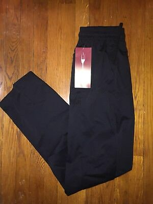 CHEF WORKS Black Baggy Uniform Chef Pants (Sz S/Small) Drawstring Elastic Waist
