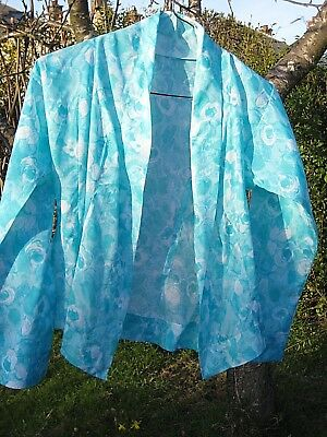 girl's fine fitted blouse / light jacket, Malaysian vintage blue floral, VGC