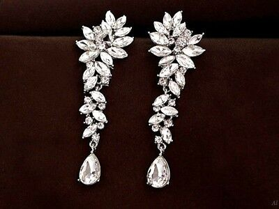 Victorian Rhinestone Crystal Floral Cluster Pear Drop Bridal Earrings,Silver