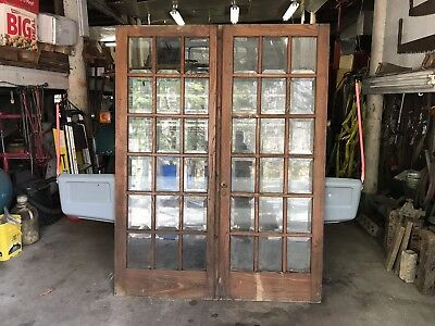 83 1/2 X 64 Antique Vintage French Wood Double Entry Door Oak Window Glass Lite