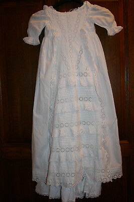 Vintage White Cotton Christening Gown With Underslip