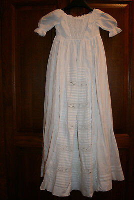 Vintage White Cotton Christening Gown With Underslip + Bib