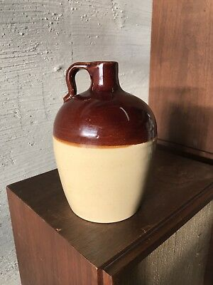 Vintage Stoneware Brown Two Tone Moonshine Whiskey Jug USA #135-59-D60