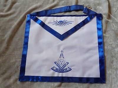 Masonic Past Master Apron White Color Logo Freemason Blue Lodge Fraternity NEW!