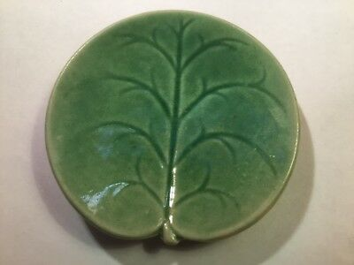 Antique Green Majolica Pond Lily Butter Pat attributed to George Jones, em221