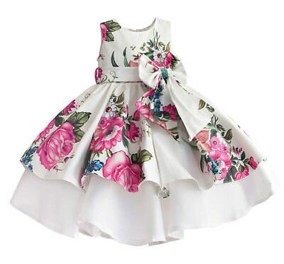 Vestito Bambina Abito Cerimonia Rose Girl Summer Princess Party Dress  DGZF028 P 3e14b48eab1