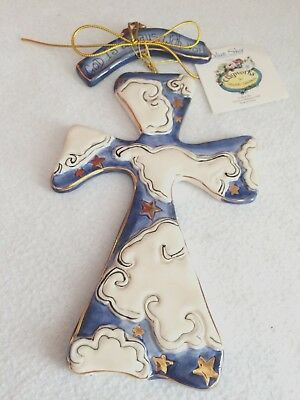 Clayworks Blue Sky 2005 Heather Goldminc Ceramic Cloud Cross Orig Tags