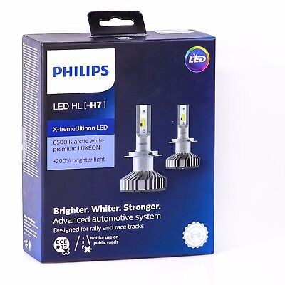 1set philips led h7 headlight x treme ultinon high low. Black Bedroom Furniture Sets. Home Design Ideas