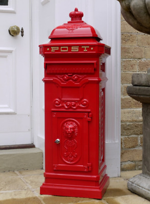 Large Vintage Red Aluminium Free Standing Mailing Post Box Wedding Metal Grand