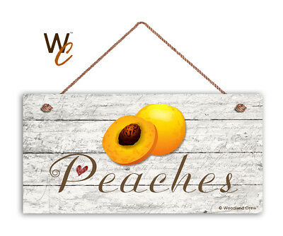 """Peaches Sign, Rustic Style Garden Sign,  5"""" x 10"""" Wood Fruit Sign, Kitchen"""