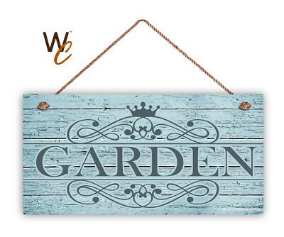 """Garden Sign, Rustic Style Ornate Garden Sign,  5"""" x 10"""" Wood Sign"""