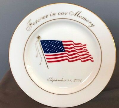 Lenox September 11th Commemorative Plate Forever in our Memory REMEMBER USA FLAG