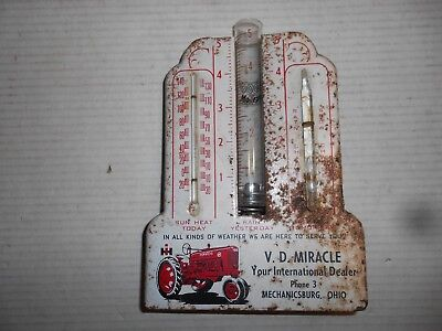 Vintage 1940s IH FARMALL `M` RAIN GAUGE, THERMOMETER & WEATHER CHANGE Dealer Adv
