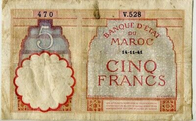 .Paper Money French Morocco 1941 5 francs,V.528