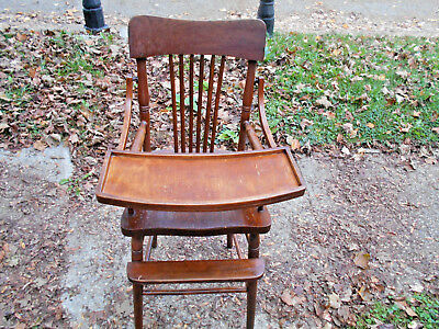 Antique Child's High Chair Solid Wood Seat Made in USA~1890-1910~Original - ANTIQUE CHILD'S HIGH Chair Solid Wood Seat Made In USA~1890-1910