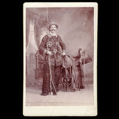 Unusual Antique Victorian Cabinet Card Photo Armed Wild West Cowboy Performer ID