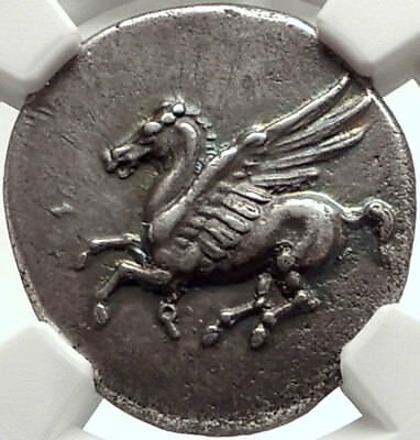 CORINTH Ancient 345BC Silver Greek Stater Coin ATHENA & PEGASUS NGC AU i68292