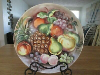 """Handpainted Fruit Subject - Signed - 12"""" Round Plate"""