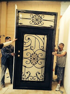 Miami Wrought Iron Entry Door with Choice of Glass and Finish