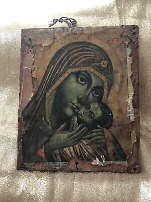 Original Antique Greek Religious Icon Wood Painting Mary and Jesus Vintage Art