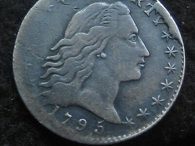 1795 Flowing Hair Half Dime- LM-10, Die Cud, Very Rare
