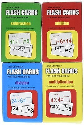 Set of 4 Children's Flash Cards Set - Great Way for Kids to Learn Math!