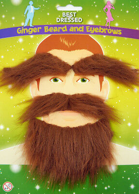 GINGER BEARD & EYEBROWS Facial Hair Set Fancy Dress Party Scottish Moustache Men