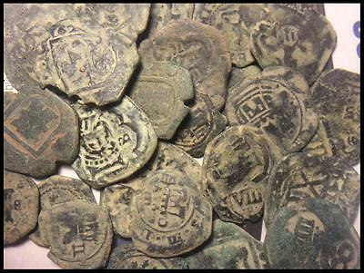 "UNCLEANED SPANISH COB COINS GENUINE ""pirates' pocket change"" - Good quality"