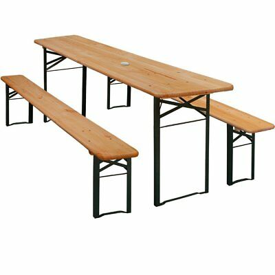 WOODEN GARDEN TABLE Bench Set Folding Dining Trestle Furniture with ...