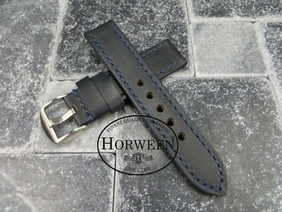 20mm Genuine HORWEEN Soft Cow Leather Strap Blue Watch Band Blue Stitch OMEGA