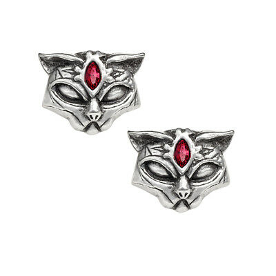 GENUINE Alchemy Gothic Earrings - Sacred Cat   Ladies Egyptian Crystal Studs