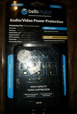 Bell'O Digital 3-Outlet In Wall Audio Video Surge Protector - NEW SEALED