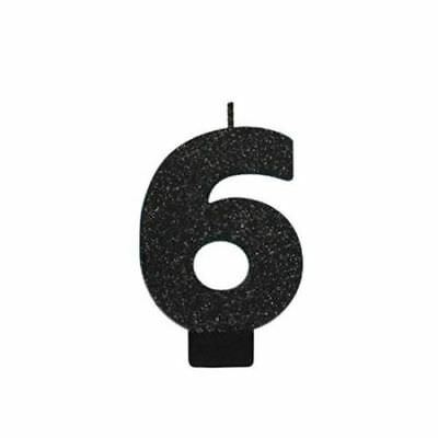 6th BIRTHDAY PARTY CANDLE NUMBER SIX BLACK SPARKLE GLITTER 6 CAKE TOPPER DECOR