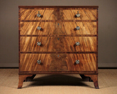 Antique George IV Chest of Drawers with Flame Mahogany Front c.1820.